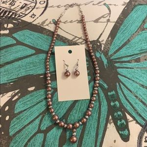 Brown pearl earrings and necklace set